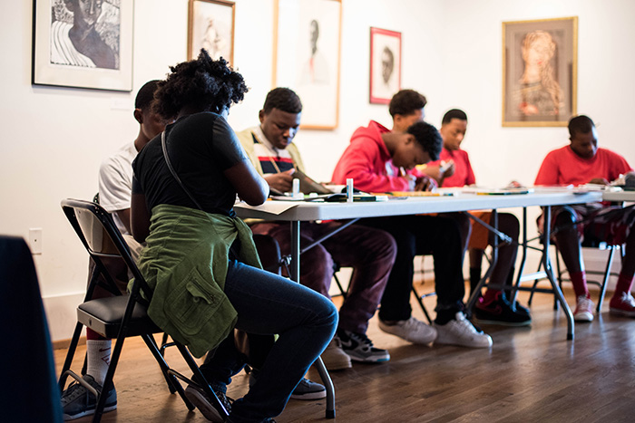 Students from Martin Luther King Jr. Middle School created personal collages during their visit to the gallery.